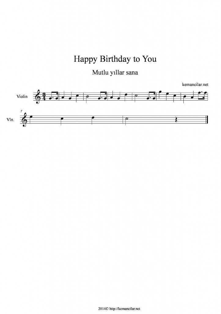 happy birthday to you keman notaları