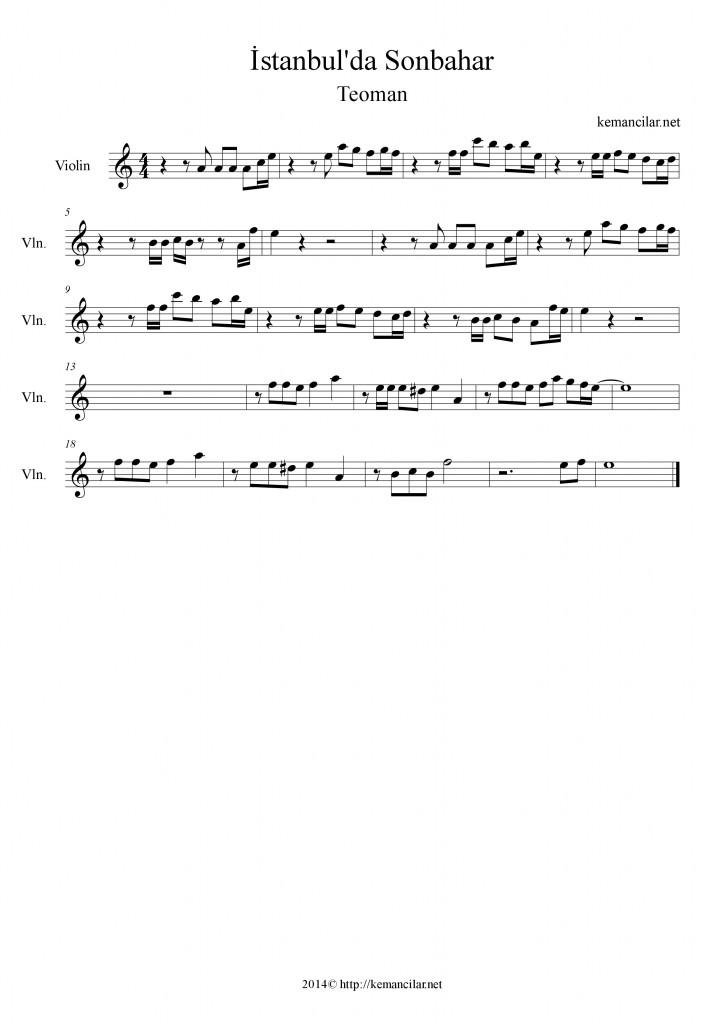 istanbulda sonbahar keman notaları
