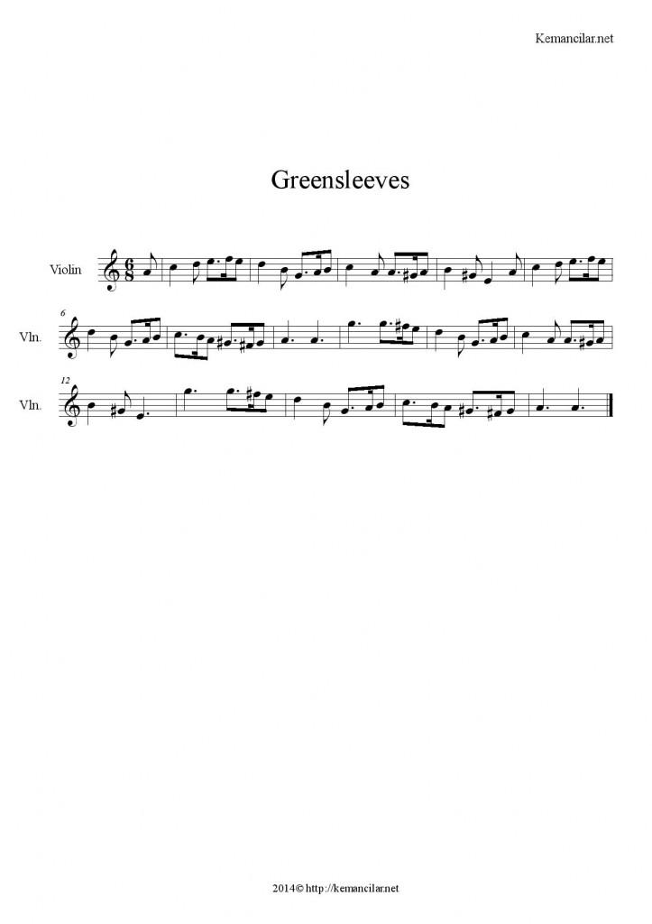 greensleeves keman notaları
